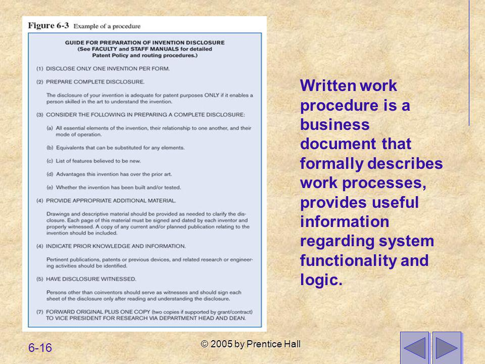 © 2005 by Prentice Hall 6-16 Written work procedure is a business document that formally describes work processes, provides useful information regardi