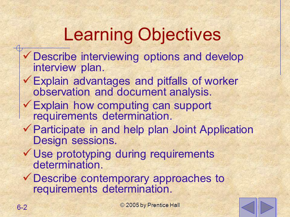 © 2005 by Prentice Hall 6-2 Learning Objectives Describe interviewing options and develop interview plan. Explain advantages and pitfalls of worker ob
