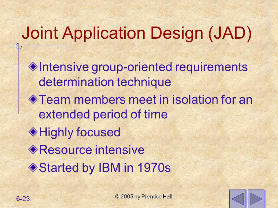 © 2005 by Prentice Hall 6-23 Joint Application Design (JAD) Intensive group-oriented requirements determination technique Team members meet in isolati