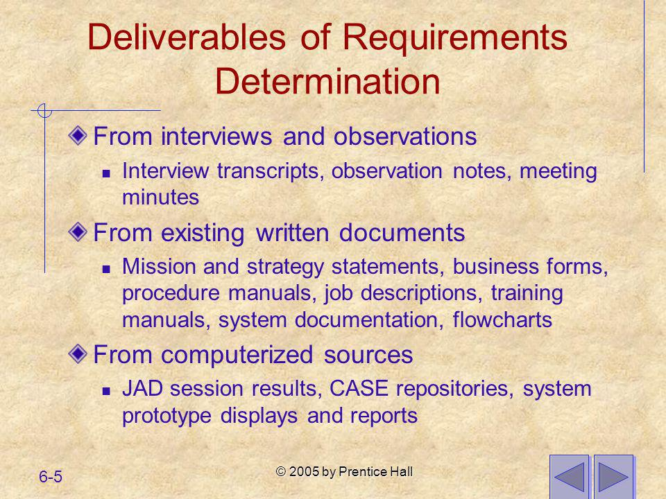 © 2005 by Prentice Hall 6-5 Deliverables of Requirements Determination From interviews and observations Interview transcripts, observation notes, meet