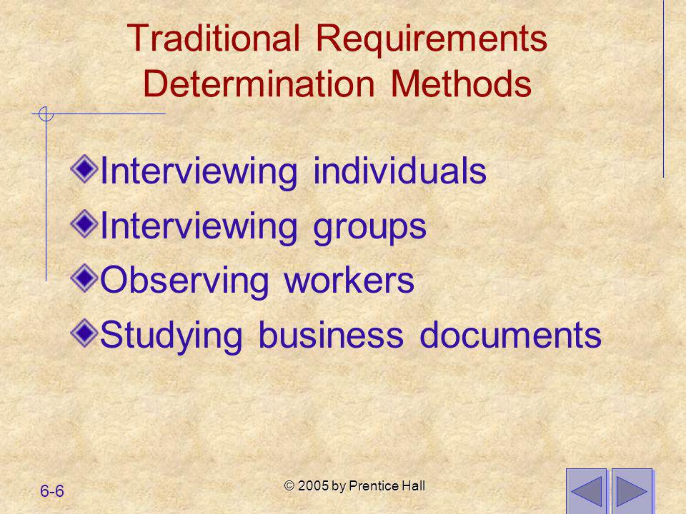 © 2005 by Prentice Hall 6-6 Traditional Requirements Determination Methods Interviewing individuals Interviewing groups Observing workers Studying bus