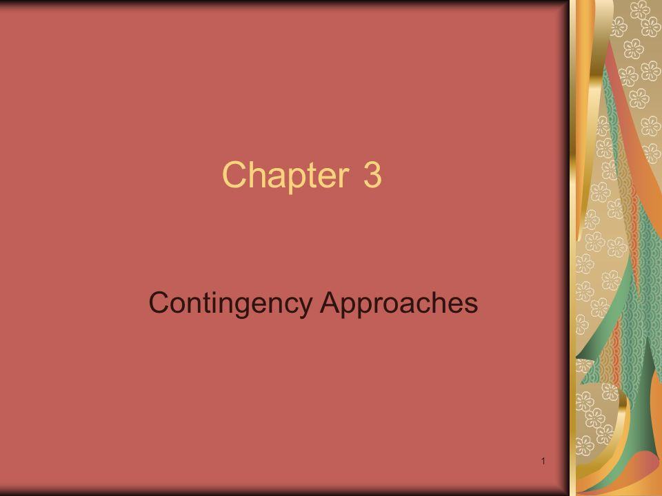 1 Chapter 3 Contingency Approaches