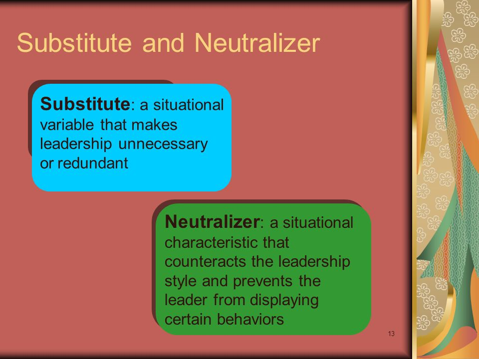 13 Substitute and Neutralizer Substitute : a situational variable that makes leadership unnecessary or redundant Neutralizer : a situational character
