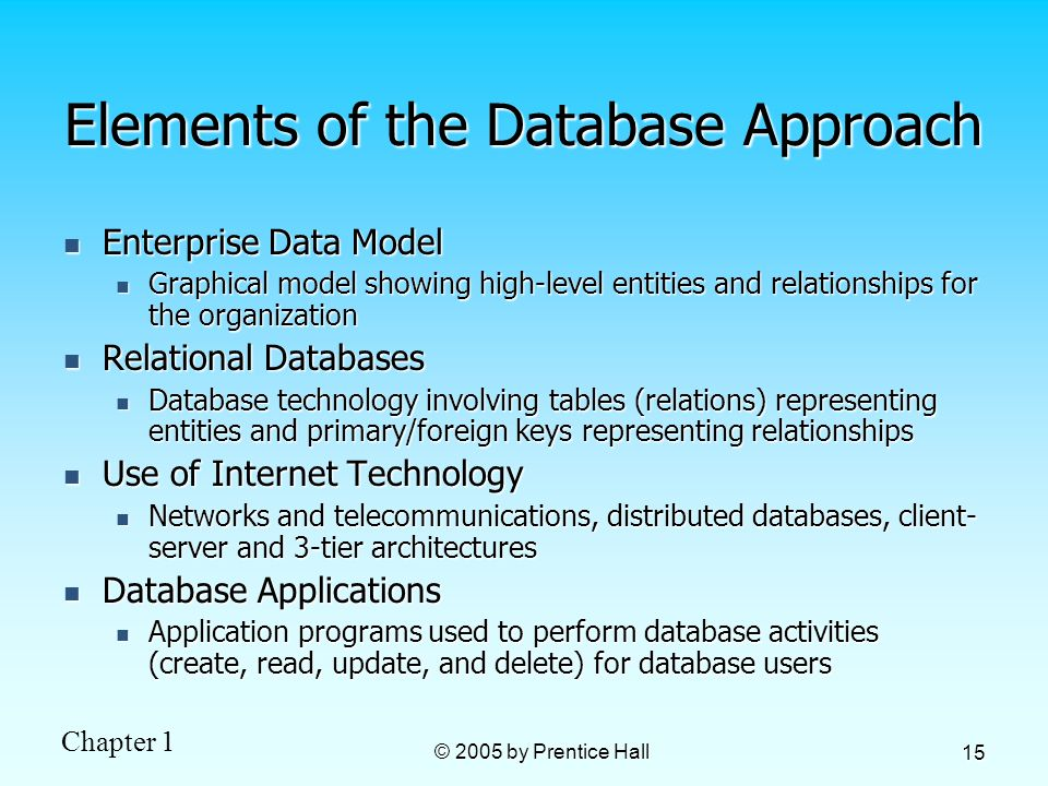 Chapter 1 © 2005 by Prentice Hall 15 Elements of the Database Approach Enterprise Data Model Enterprise Data Model Graphical model showing high-level