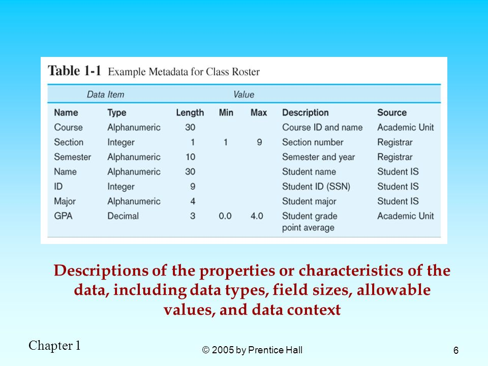 Chapter 1 © 2005 by Prentice Hall 6 Descriptions of the properties or characteristics of the data, including data types, field sizes, allowable values