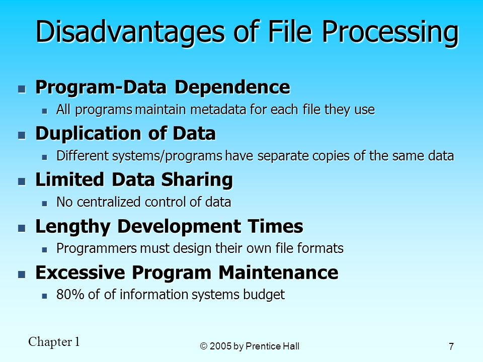 Chapter 1 © 2005 by Prentice Hall 7 Disadvantages of File Processing Program-Data Dependence Program-Data Dependence All programs maintain metadata fo