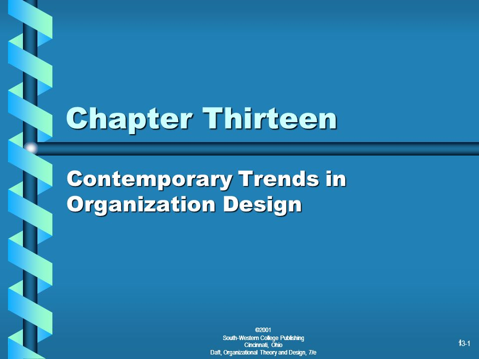 ©2001 South-Western College Publishing Cincinnati, Ohio Daft, Organizational Theory and Design, 7/e 13-1 1 Chapter Thirteen Contemporary Trends in Org