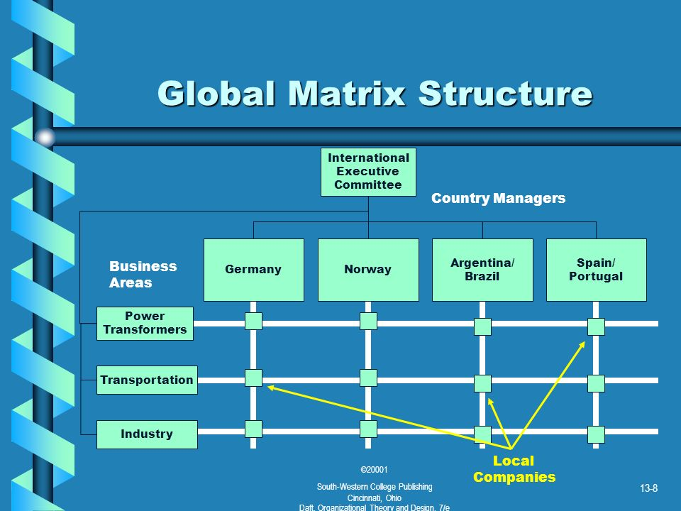 ©20001 South-Western College Publishing Cincinnati, Ohio Daft, Organizational Theory and Design, 7/e 13-8 Global Matrix Structure International Execut