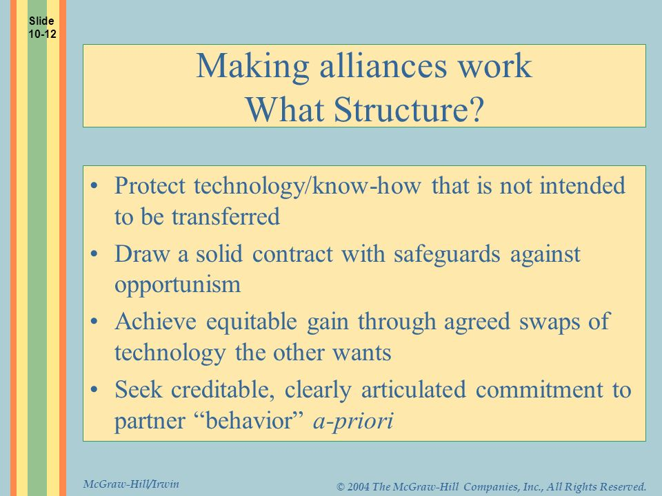 McGraw-Hill/Irwin © 2004 The McGraw-Hill Companies, Inc., All Rights Reserved. Making alliances work What Structure? Protect technology/know-how that