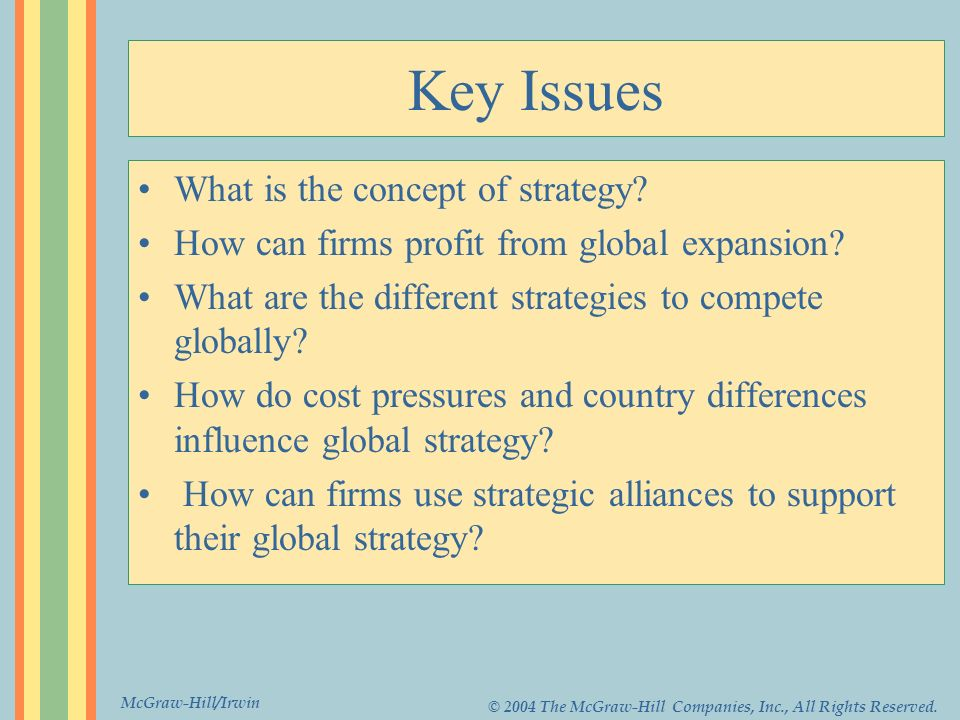 McGraw-Hill/Irwin © 2004 The McGraw-Hill Companies, Inc., All Rights Reserved. Key Issues What is the concept of strategy? How can firms profit from g