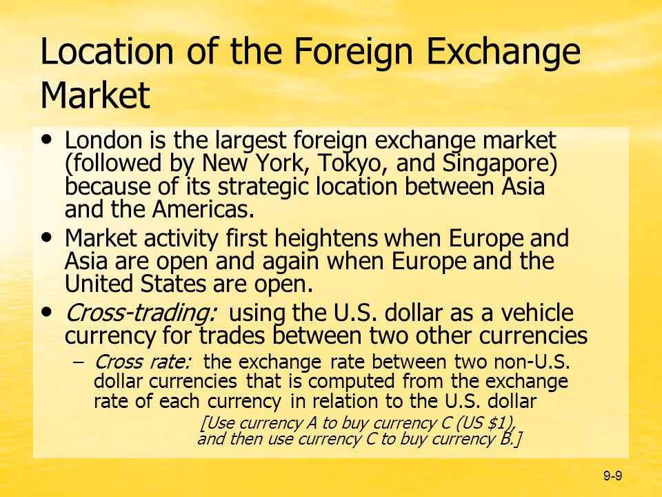 9-9 Location of the Foreign Exchange Market London is the largest foreign exchange market (followed by New York, Tokyo, and Singapore) because of its strategic location between Asia and the Americas.