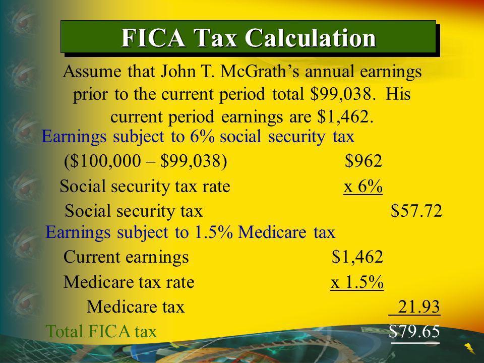 Earnings subject to 6% social security tax ($100,000 – $99,038) $962 Social security tax rate x 6% Social security tax$57.72 FICA Tax Calculation Assume that John T.