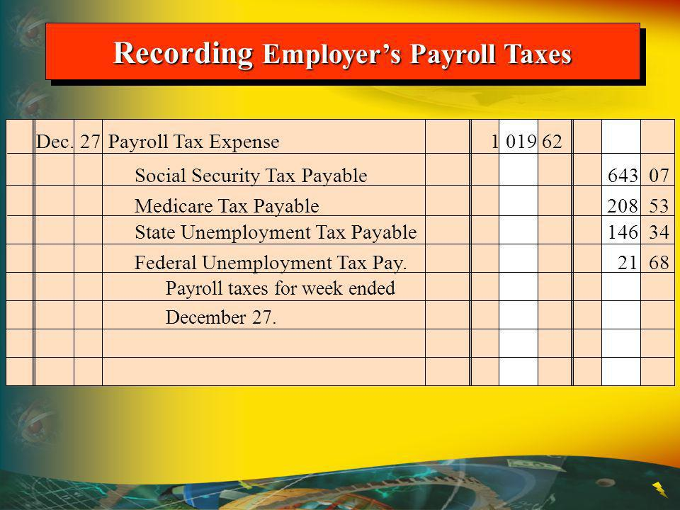 Recording Employers Payroll Taxes Dec.