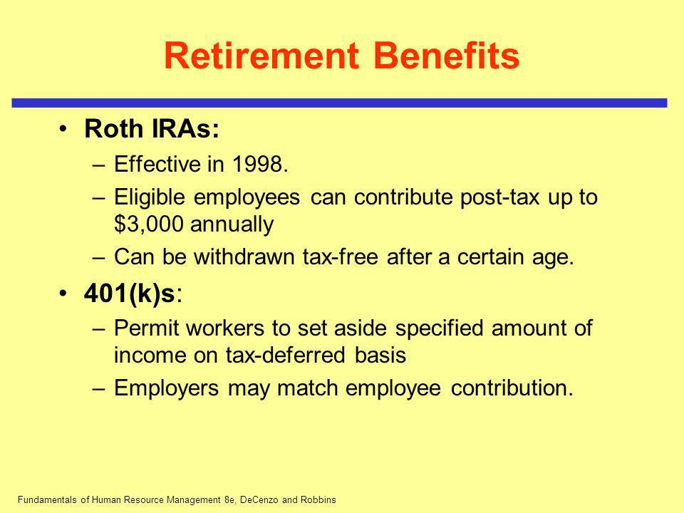 Fundamentals of Human Resource Management 8e, DeCenzo and Robbins Retirement Benefits Roth IRAs: –Effective in 1998. –Eligible employees can contribut
