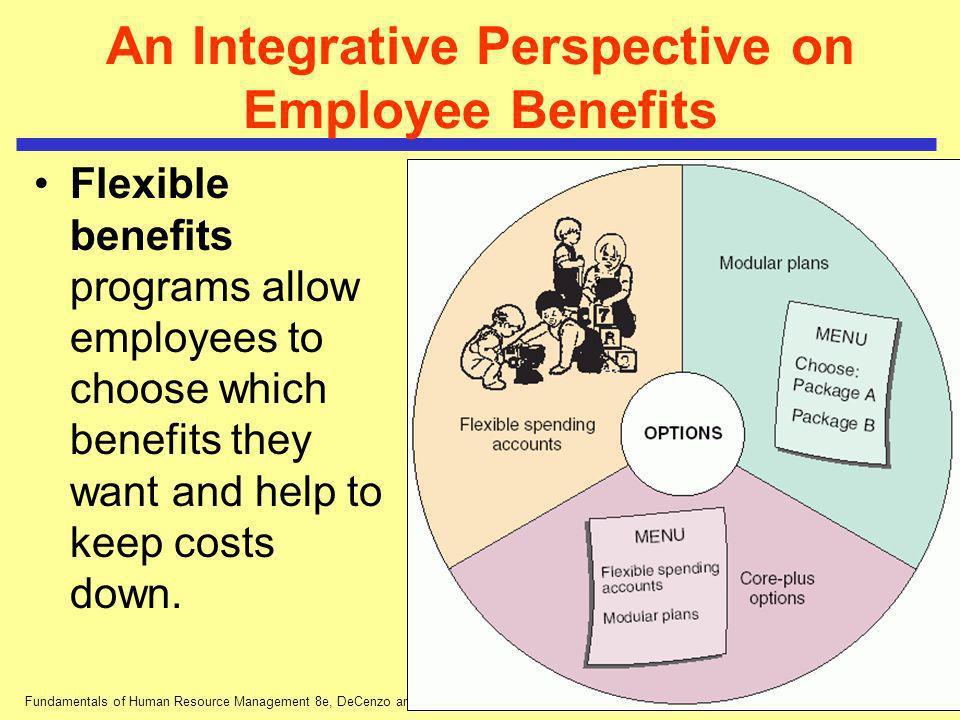 Fundamentals of Human Resource Management 8e, DeCenzo and Robbins An Integrative Perspective on Employee Benefits Flexible benefits programs allow emp