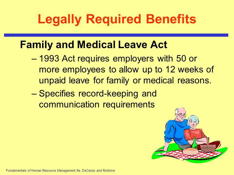 Fundamentals of Human Resource Management 8e, DeCenzo and Robbins Legally Required Benefits Family and Medical Leave Act –1993 Act requires employers