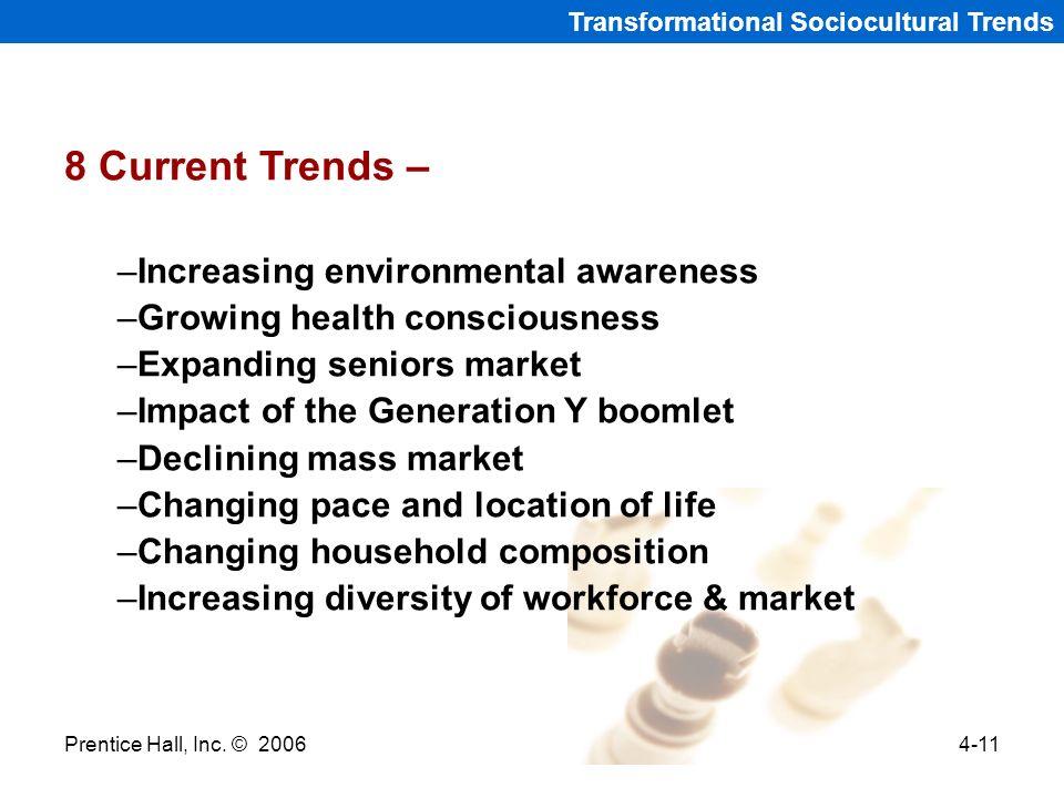 Prentice Hall, Inc. © 20064-11 Transformational Sociocultural Trends 8 Current Trends – –Increasing environmental awareness –Growing health consciousn