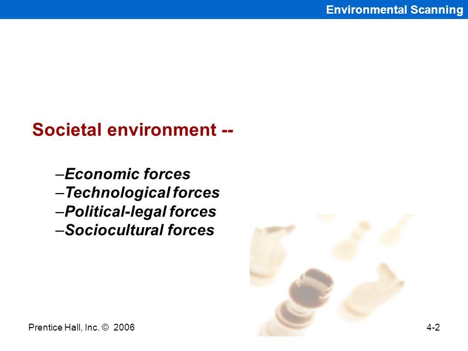 Prentice Hall, Inc. © 20064-2 Environmental Scanning Societal environment -- –Economic forces –Technological forces –Political-legal forces –Sociocult