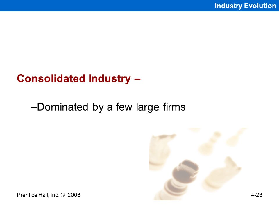 Prentice Hall, Inc. © 20064-23 Industry Evolution Consolidated Industry – –Dominated by a few large firms