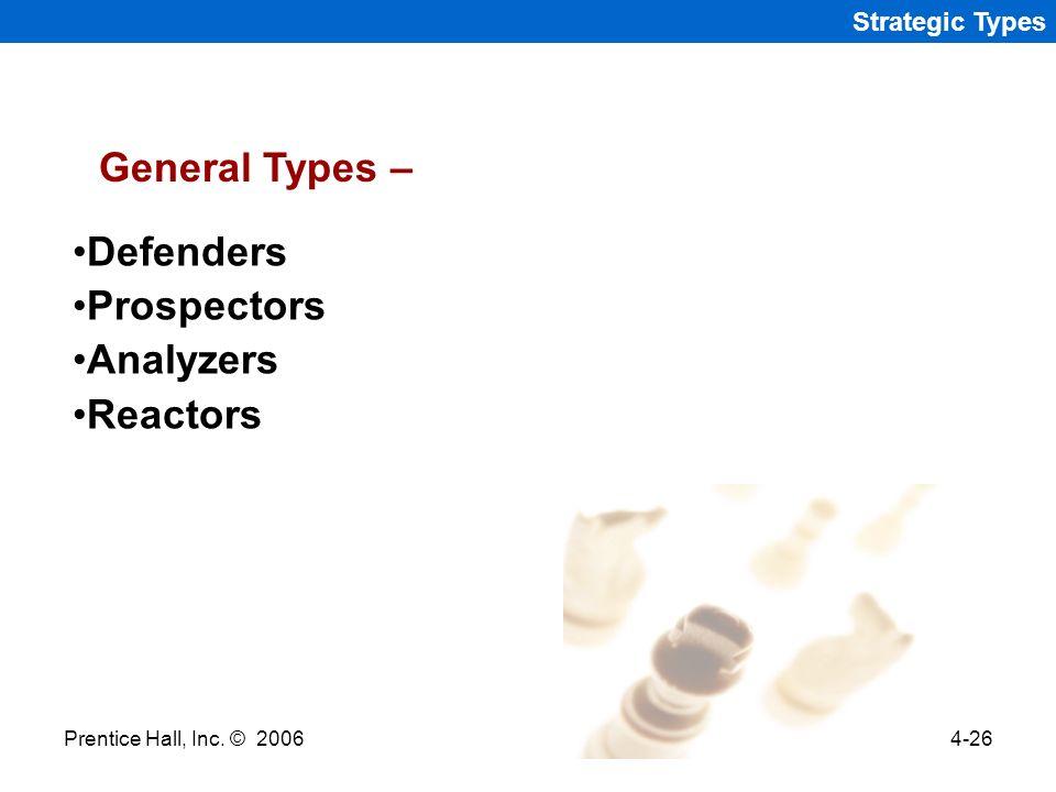 Prentice Hall, Inc. © 20064-26 Strategic Types Defenders Prospectors Analyzers Reactors General Types –