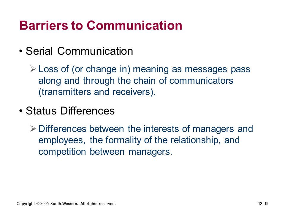 Copyright © 2005 South-Western. All rights reserved.12–19 Barriers to Communication Serial Communication Loss of (or change in) meaning as messages pa