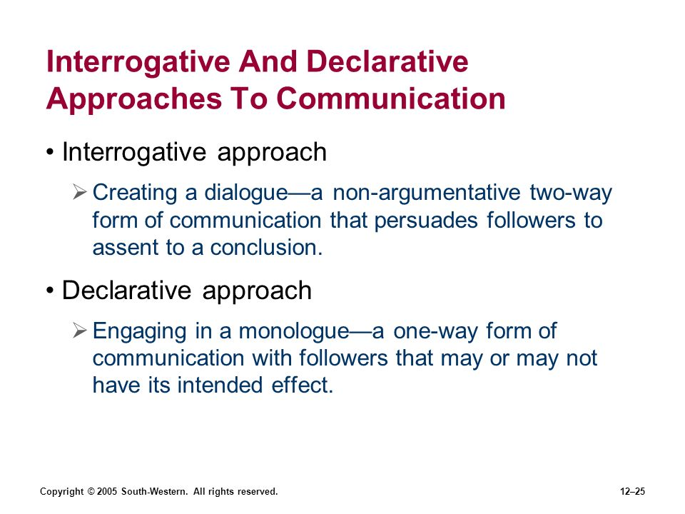 Copyright © 2005 South-Western. All rights reserved.12–25 Interrogative And Declarative Approaches To Communication Interrogative approach Creating a