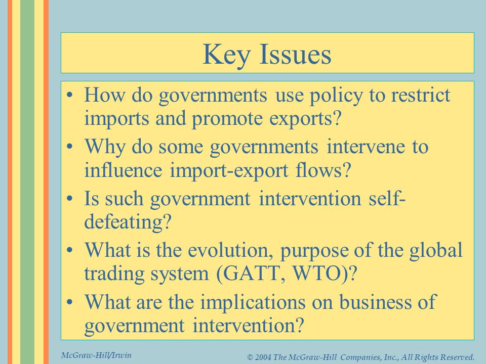 McGraw-Hill/Irwin © 2004 The McGraw-Hill Companies, Inc., All Rights Reserved. Key Issues How do governments use policy to restrict imports and promot