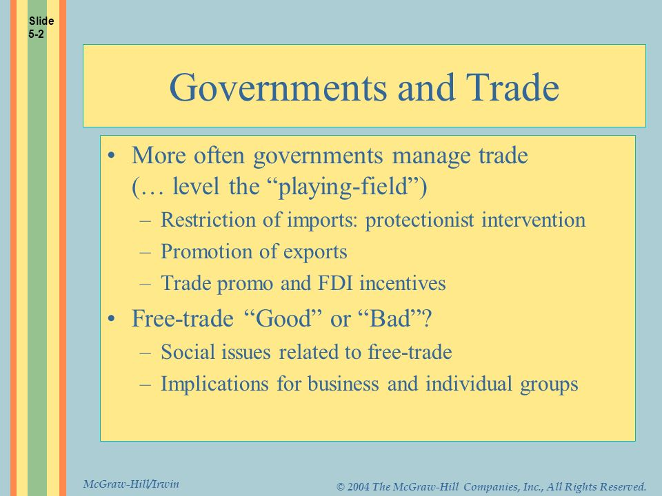 McGraw-Hill/Irwin © 2004 The McGraw-Hill Companies, Inc., All Rights Reserved. Governments and Trade More often governments manage trade (… level the