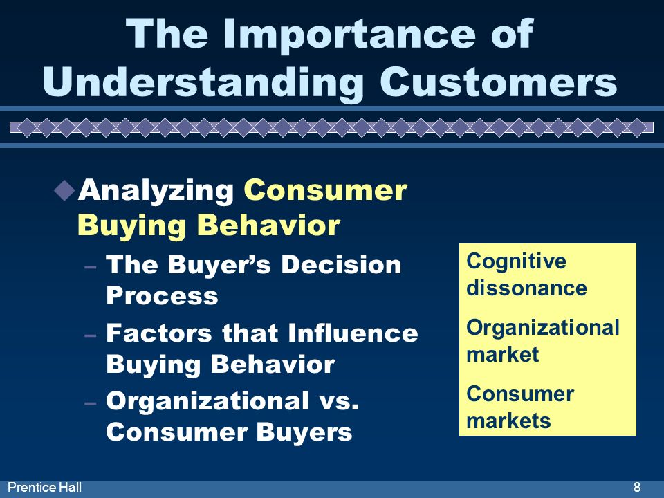 8Prentice Hall The Importance of Understanding Customers Analyzing Consumer Buying Behavior – The Buyers Decision Process – Factors that Influence Buying Behavior – Organizational vs.