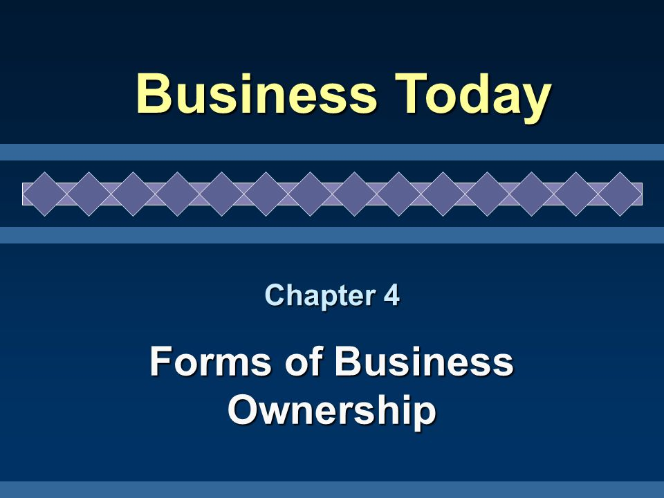 Chapter 4 Forms of Business Ownership Business Today