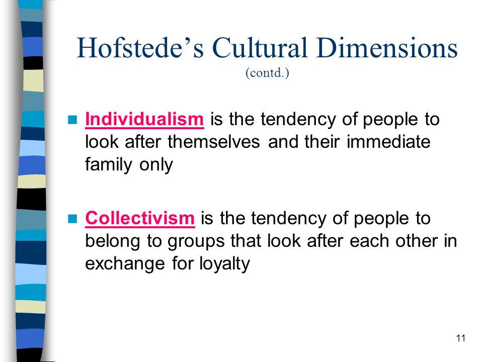 11 Hofstedes Cultural Dimensions (contd.) Individualism is the tendency of people to look after themselves and their immediate family only Collectivism is the tendency of people to belong to groups that look after each other in exchange for loyalty
