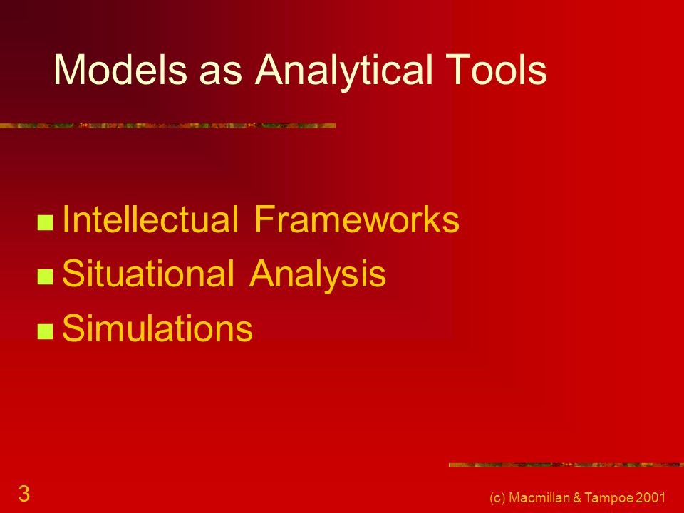(c) Macmillan & Tampoe 2001 3 Models as Analytical Tools Intellectual Frameworks Situational Analysis Simulations
