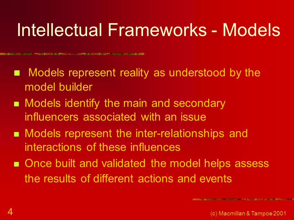 (c) Macmillan & Tampoe 2001 4 Intellectual Frameworks - Models Models represent reality as understood by the model builder Models identify the main an