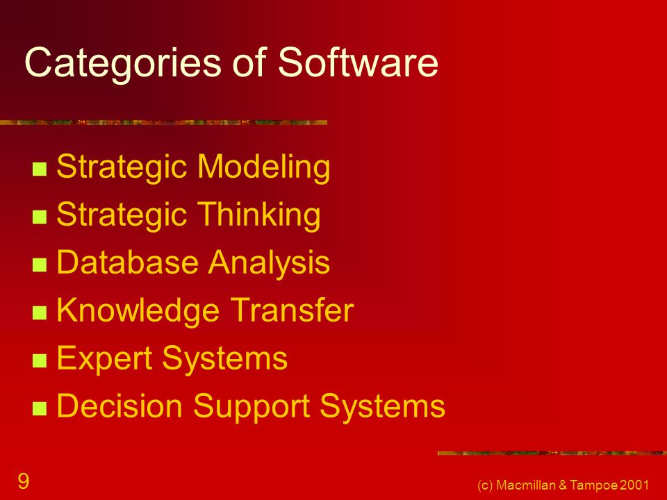 (c) Macmillan & Tampoe 2001 9 Categories of Software Strategic Modeling Strategic Thinking Database Analysis Knowledge Transfer Expert Systems Decisio