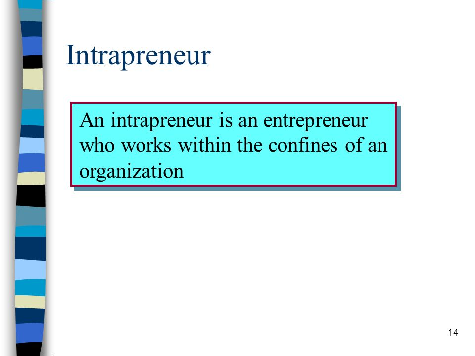 14 Intrapreneur An intrapreneur is an entrepreneur who works within the confines of an organization