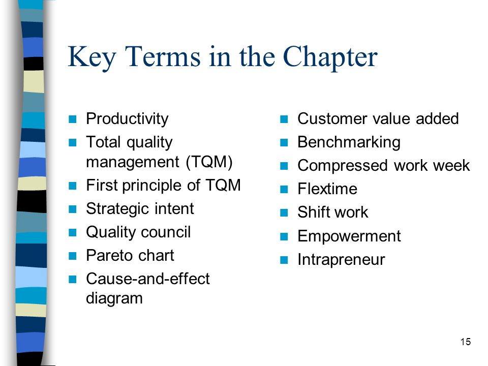 15 Key Terms in the Chapter Productivity Total quality management (TQM) First principle of TQM Strategic intent Quality council Pareto chart Cause-and