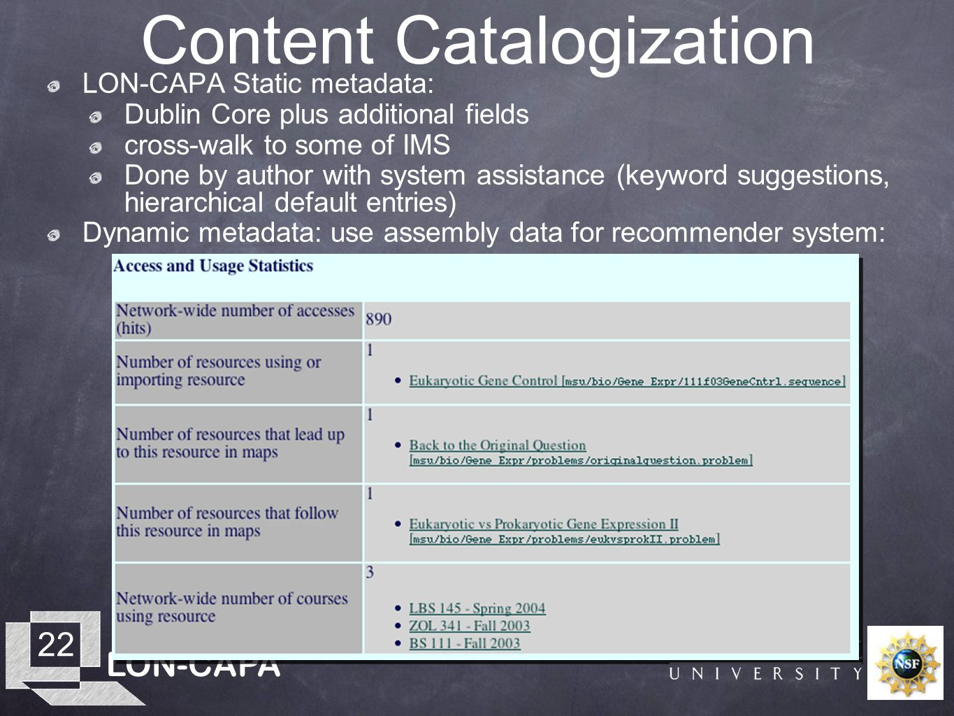 LON-CAPA 22 Content Catalogization LON-CAPA Static metadata: Dublin Core plus additional fields cross-walk to some of IMS Done by author with system a