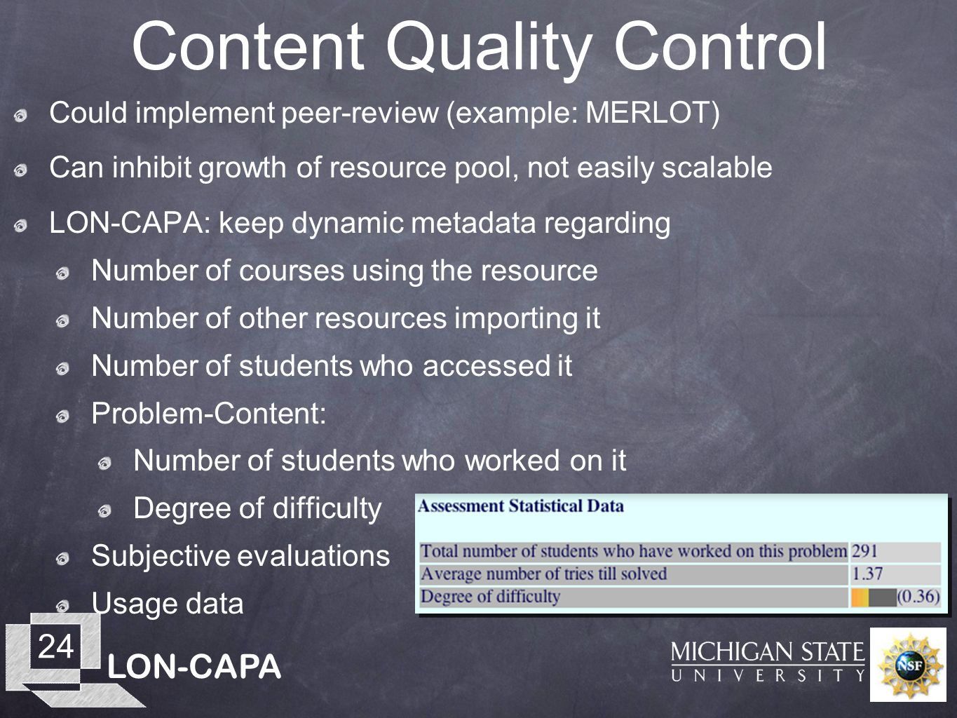 LON-CAPA 24 Content Quality Control Could implement peer-review (example: MERLOT) Can inhibit growth of resource pool, not easily scalable LON-CAPA: keep dynamic metadata regarding Number of courses using the resource Number of other resources importing it Number of students who accessed it Problem-Content: Number of students who worked on it Degree of difficulty Subjective evaluations Usage data