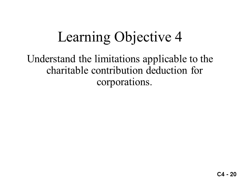 C4 - 20 Learning Objective 4 Understand the limitations applicable to the charitable contribution deduction for corporations.