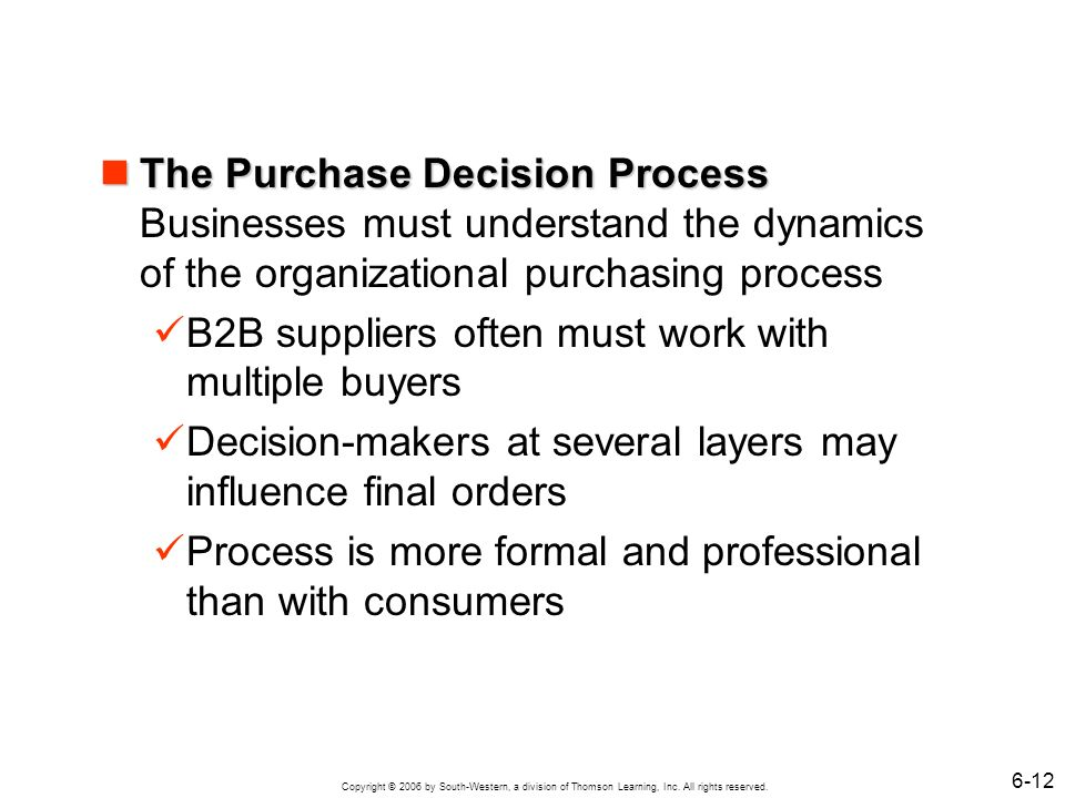 Copyright © 2006 by South-Western, a division of Thomson Learning, Inc. All rights reserved. 6-12 The Purchase Decision Process The Purchase Decision