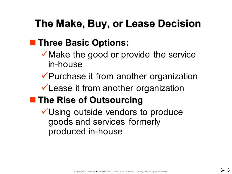 Copyright © 2006 by South-Western, a division of Thomson Learning, Inc. All rights reserved. 6-15 The Make, Buy, or Lease Decision Three Basic Options