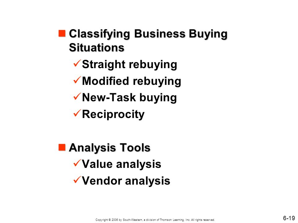 Copyright © 2006 by South-Western, a division of Thomson Learning, Inc. All rights reserved. 6-19 Classifying Business Buying Situations Classifying B