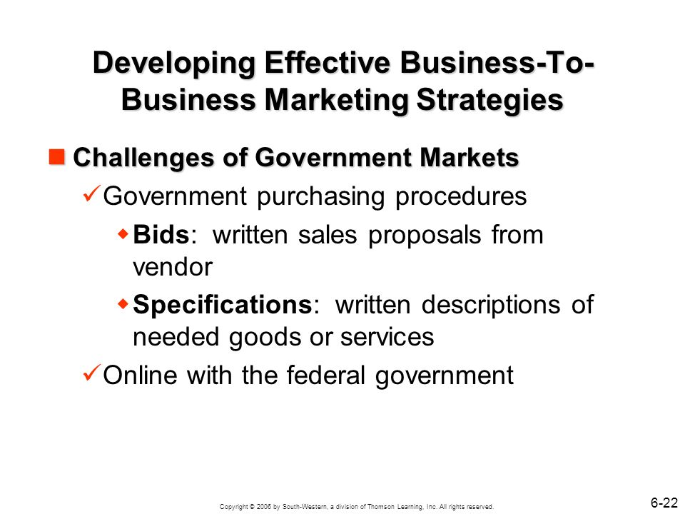 Copyright © 2006 by South-Western, a division of Thomson Learning, Inc. All rights reserved. 6-22 Developing Effective Business-To- Business Marketing