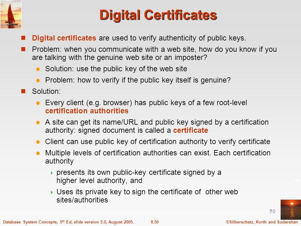 ©Silberschatz, Korth and Sudarshan8.50Database System Concepts, 5 th Ed, slide version 5.0, August 2005. 50 Digital Certificates Digital certificates