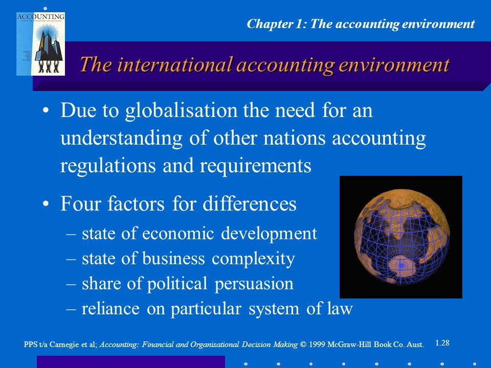 Chapter 1: The accounting environment PPS t/a Carnegie et al; Accounting: Financial and Organisational Decision Making © 1999 McGraw-Hill Book Co.