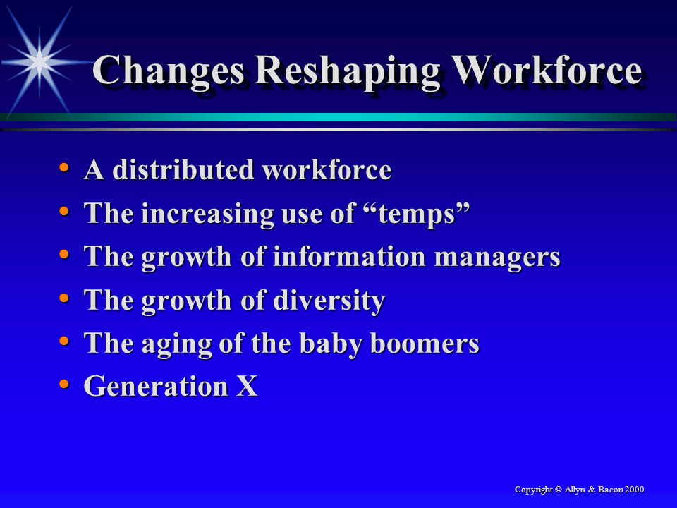 Copyright © Allyn & Bacon 2000 Changes Reshaping Workforce A distributed workforce A distributed workforce The increasing use of temps The increasing use of temps The growth of information managers The growth of information managers The growth of diversity The growth of diversity The aging of the baby boomers The aging of the baby boomers Generation X Generation X
