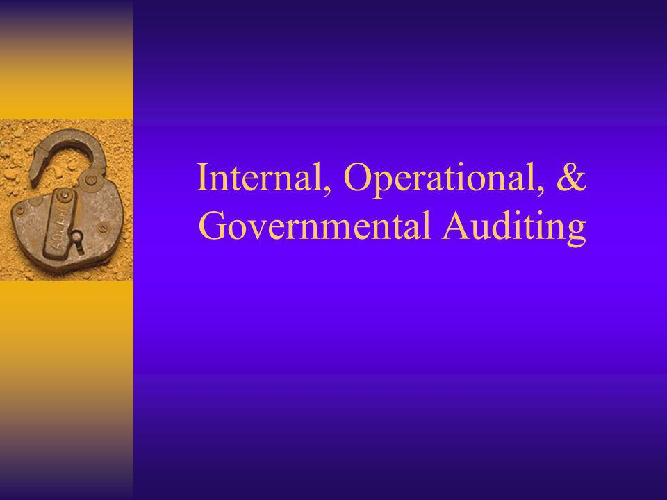 Internal, Operational, & Governmental Auditing