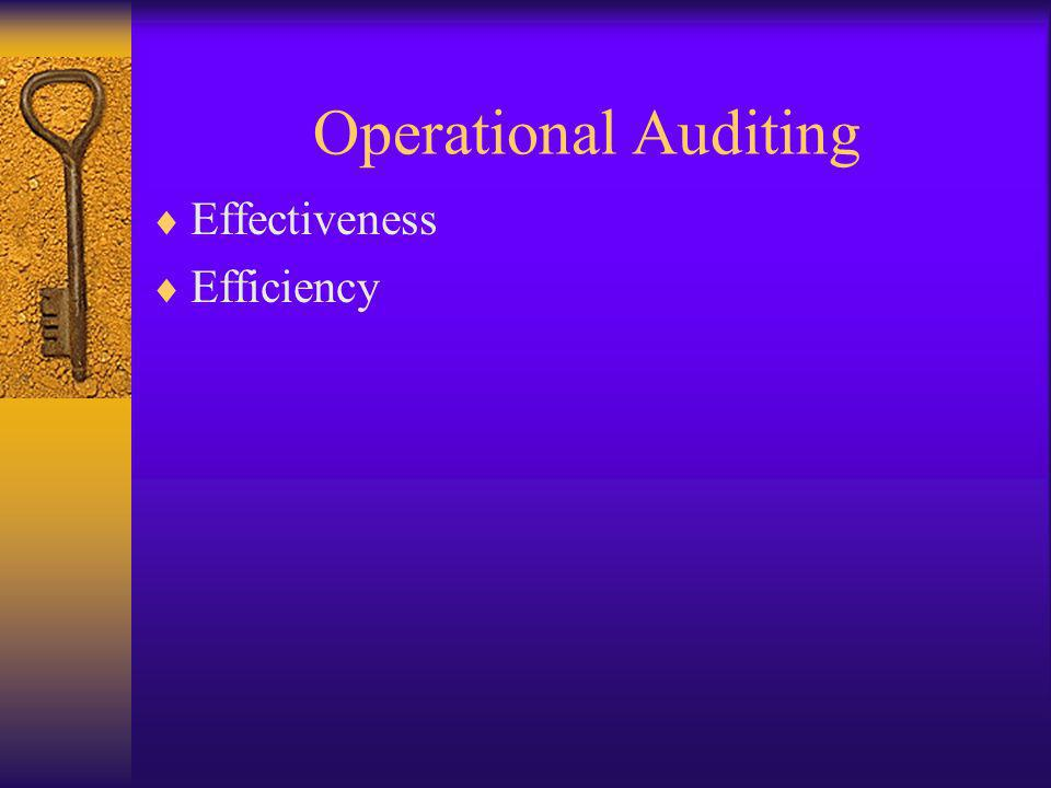 Operational Auditing Effectiveness Efficiency