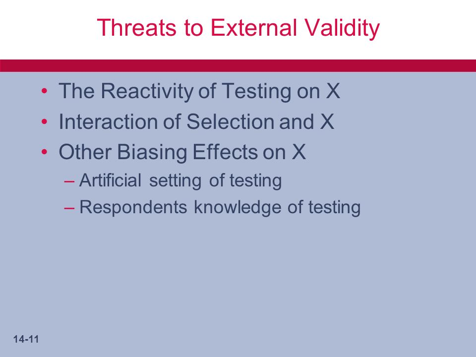 14-11 Threats to External Validity The Reactivity of Testing on X Interaction of Selection and X Other Biasing Effects on X –Artificial setting of testing –Respondents knowledge of testing