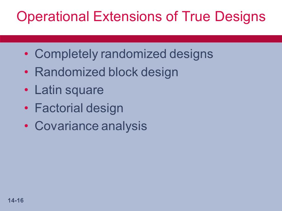 14-16 Operational Extensions of True Designs Completely randomized designs Randomized block design Latin square Factorial design Covariance analysis